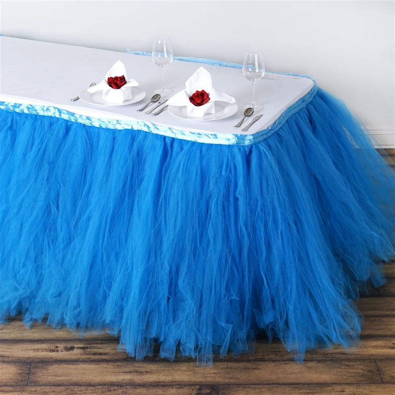 buy 14ft tantalizing 8 layer tulle table skirt serenity