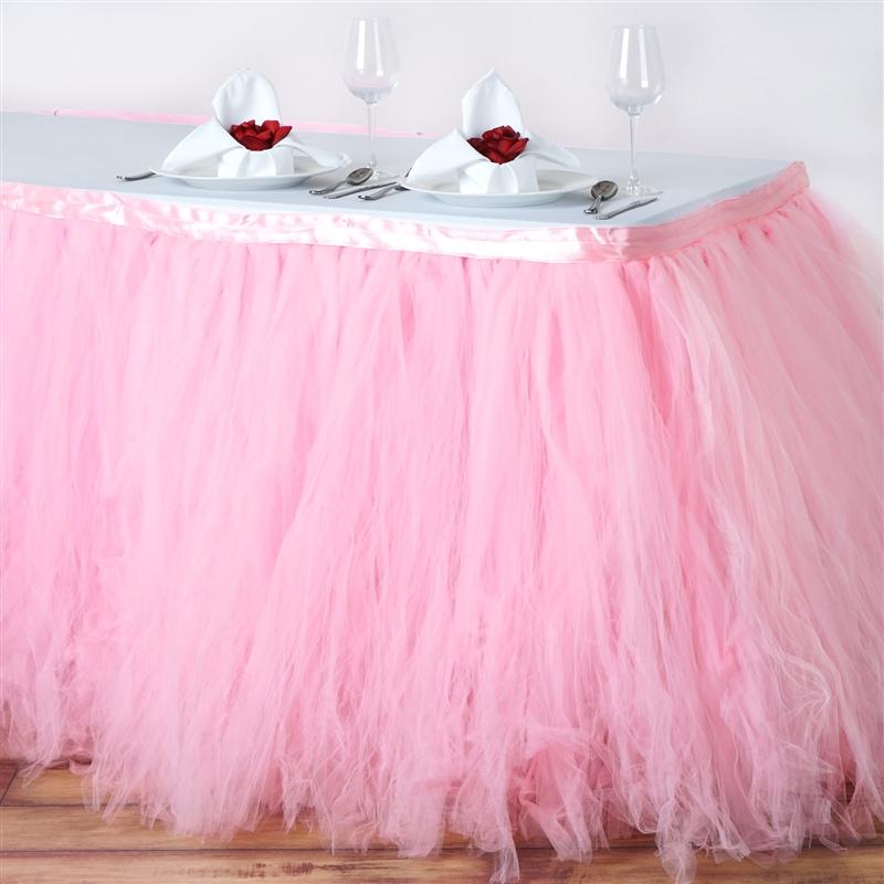 Buy 17ft Pink Rose Quartz 8 Layer Tulle Tutu Pleated Table