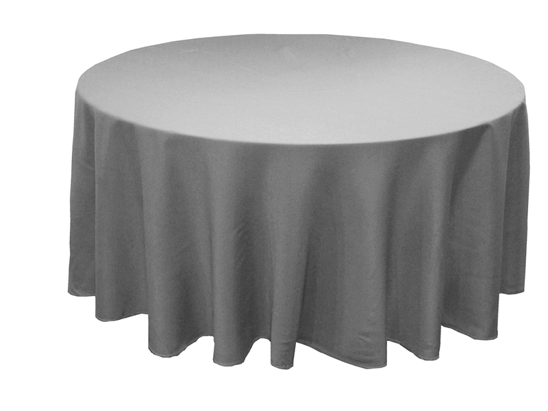 108 Silver Whole Polyester Round Tablecloth For Wedding Banquet Restaurant
