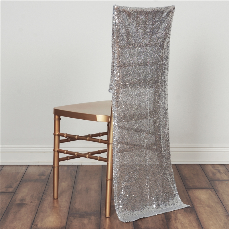 Beau Buy Wholesale Silver Sequin Tulle Net Fabric Chair Slipcover For Wedding  Party Event