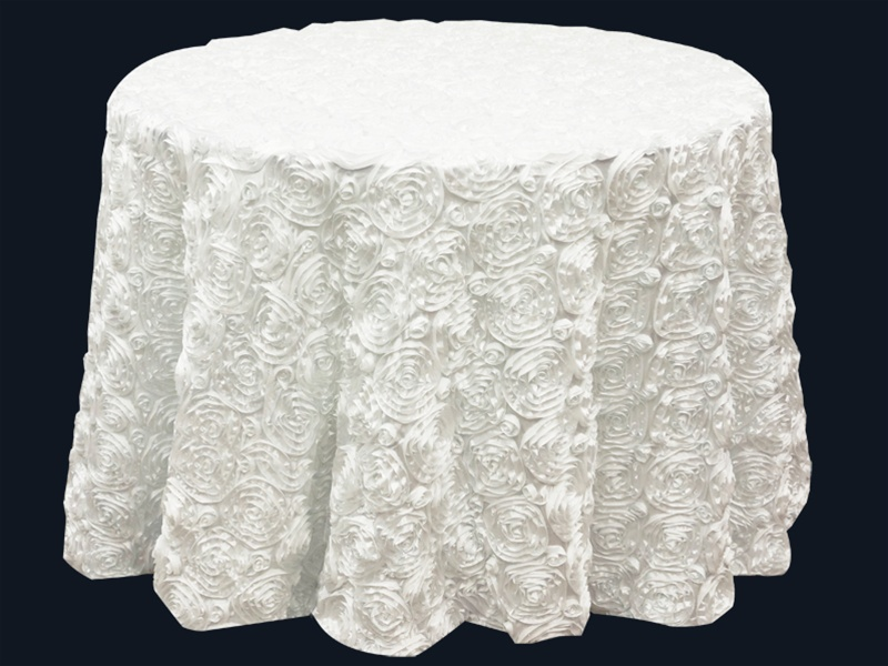 Outstanding Buy 120 White Grandiose Rosette 3D Satin Round Tablecloth Beutiful Home Inspiration Ommitmahrainfo